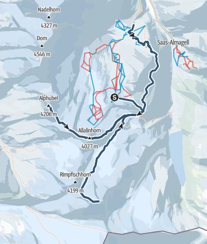 Map / Skitouren-Wochenende im Wallis mit drei Ski-Viertausendern