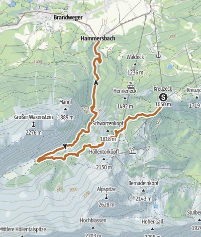 Karte / Krauzeck - Ущелье Hollental - Hammersbach