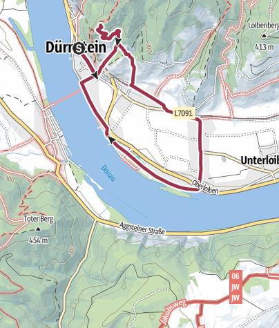 Carte / 5km Durnstein Castle Oberloiben loop BOURNE