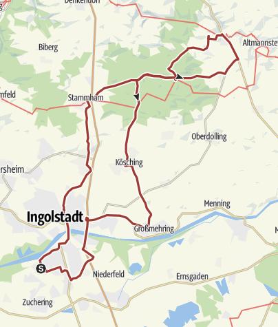 Karte / 1. Mai 2017 Rollertour durchs Altmühltal bis Sandersdorf