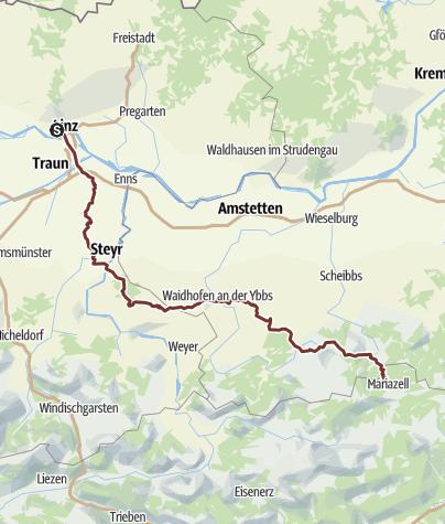 Karte / OÖ Mariazellerweg: A: Klassischer OÖ Mariazellerweg über Steyr und Waidhofen an der Ybbs - 8 Tagesetappen