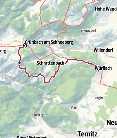 Karte / WAB - Regionale Route S: Grünbacher Sattel - Gutenmann - Würflach