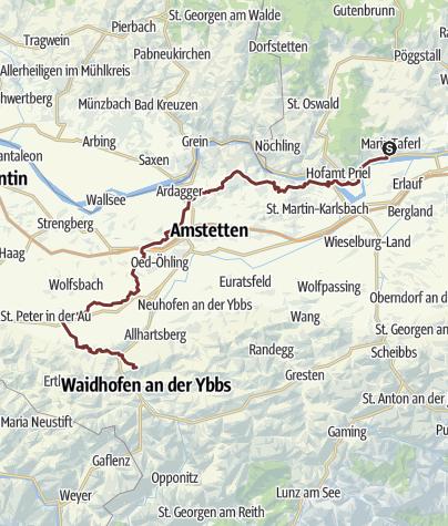 Karte / Sonntagbergweg: Gesamtverlauf von Maria Taferl nach Sonntagberg