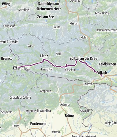 Mappa / Itinerario cicloturistico Dobbiaco - Villach