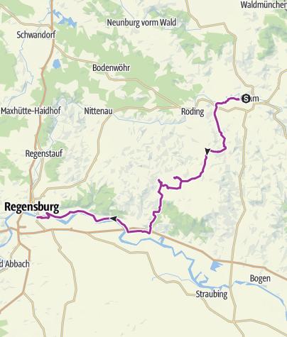 Karte / Bhf Cham - Burg Neuhaus - Michelsneukirchen - Wörth - Bhf Regensburg