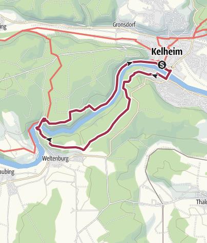 Karte / Vatertagswanderung von Kelheim bis Weltenburg und zurück
