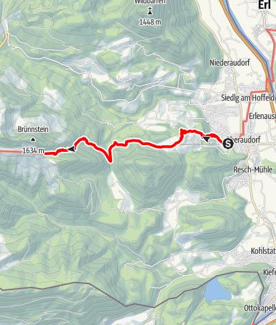 Karte / Aufstieg zum Brünnsteinhaus vom Parkplatz Bergbahn Hocheck / Oberaudorf über das Brünntal - Via Alpina