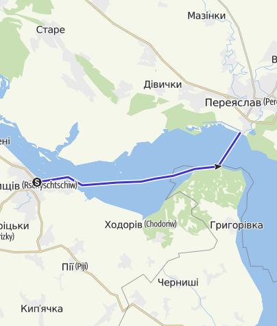 Map /  Ukraine: Rzhyshchiv - Trakhtemyriv
