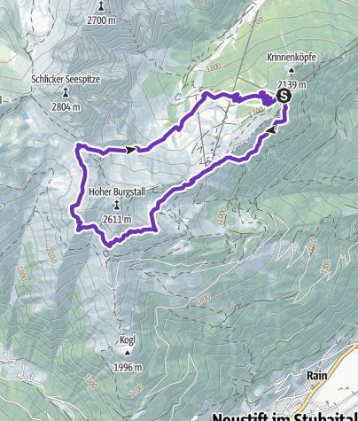Karte / Panoramatic Trailrunning im Schlick / Stubai