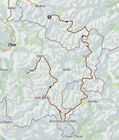Karte / Rund Engadin in 5 Tagen