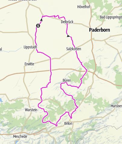 Térkép / Durchs Delbrücker Land 155km Sperrung B480/NiederAlme