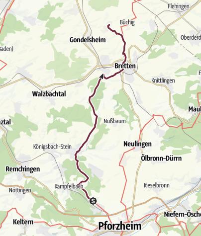 Karte / 18 Pforzheim (Ispringen) - Bretten-Neibsheim