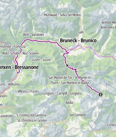 Karte / Rad: Pederü - Maria Saalen - Brixen