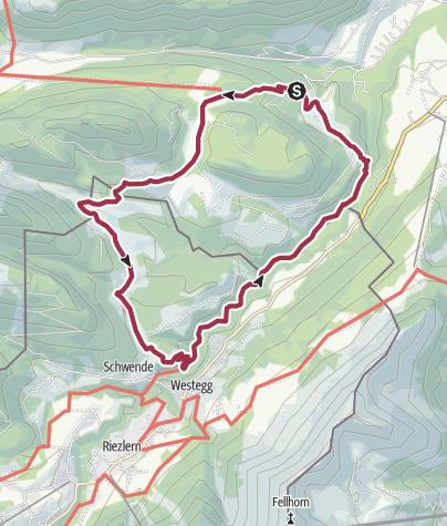 Karte / Sesselalpe – Schwende (Riezlern) – an der Breitach entlang - Alpe Dornach