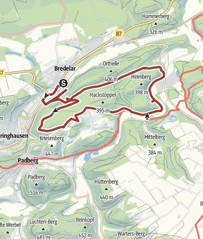 Karte / Bredelarer Bergbauspuren