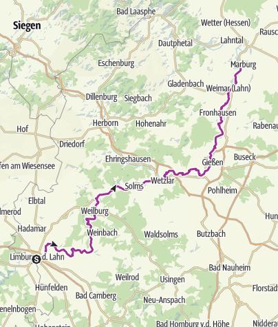 Karte / Limburg nach Marburg (Lahnradweg)