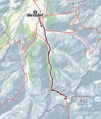 Karte / E5 Oberstdorf/Meran (ohne Hilfsmittel) - Etappe 1: Oberstdorf - Kemptner Hütte