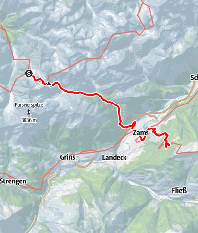 Karte / E5 Oberstdorf/Meran (ohne Hilfsmittel) - Etappe 3: Memminger Hütte - Zams Skihütte
