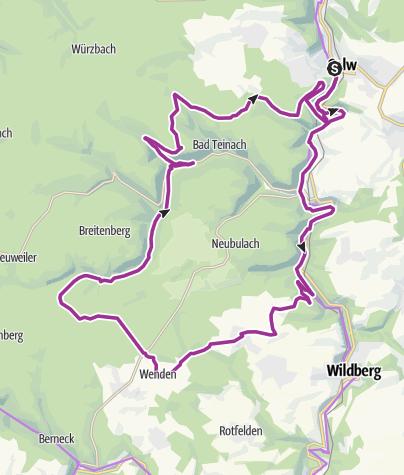 """Karte / Von Calw in den """"hinteren Wald"""" und retour"""