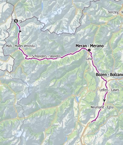 Karte / Etschradroute an der Via Claudia Augusta – Kulturerlebnis zwischen Gärten und Architektur