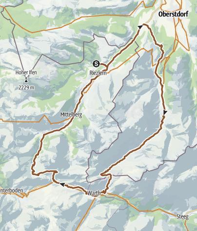 Map / Mountainbike Schrofenpass - Hochkrumbach (over Widdersteinhütte)