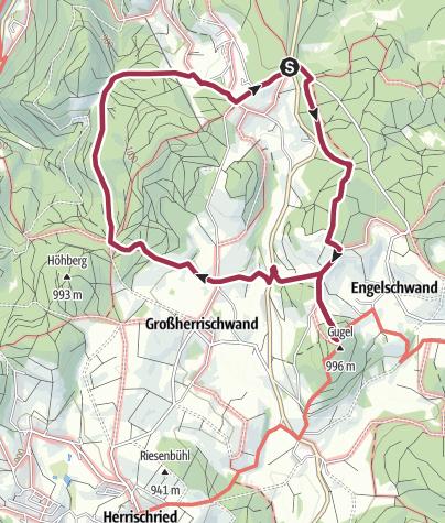 Karte / Herrischried: Wanderung von Wehrhalden zum Aussichtsturm Gugelturm