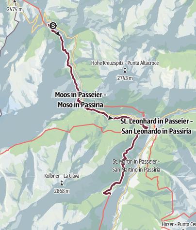 Karte / E5 Oberstdorf/Meran (ohne Hilfsmittel) - Etappe 8: Gasthof Schönau - Moos - Passerschlucht - Magdfeld (Meraner Höhenweg)