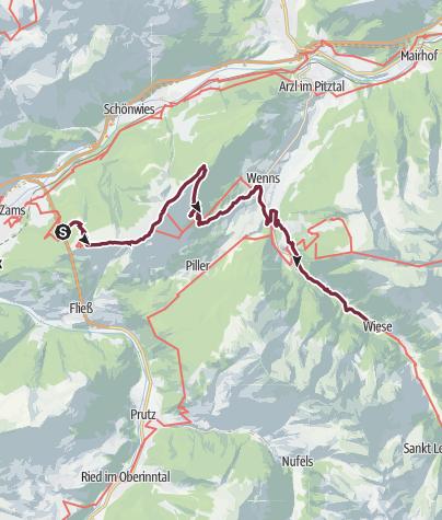 Karte / E5 Oberstdorf/Meran (ohne Hlfsmittel) - Etappe 4: Zams Skihütte - Wenns - Wiese (Pitztal)