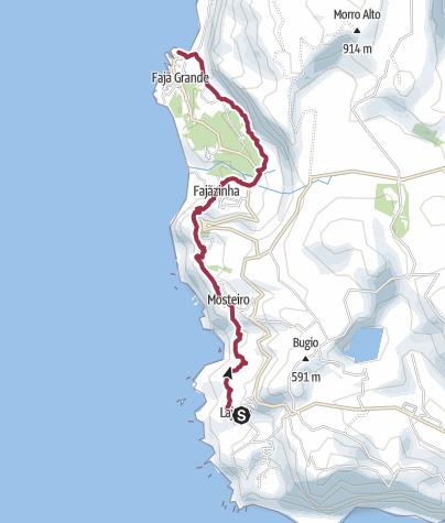 Karte / Küstenwanderung zur Fajã Grande