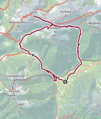 Karte / Bergtour auf die Krähe (2011 m) am 07.07.2017