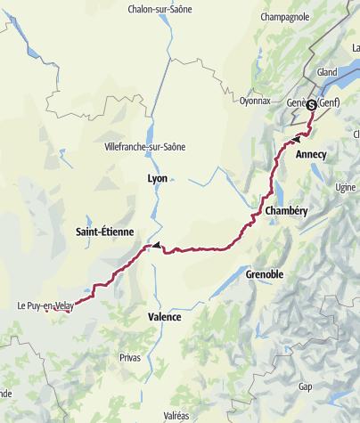 Karte / Jakobsweg / GR65 (Via Gebennensis)
