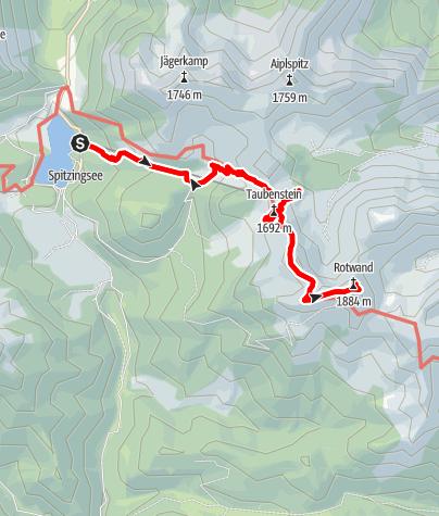 Karte / Kletter-und Wandertour auf den Taubenstein und die Rotwand