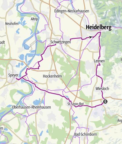 Karte / von Rauenberg nach Speyer auf der Kurpfalzroute weiter nach Heidelberg