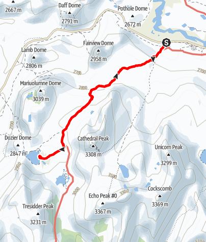 Karte / Lower Cathedral Lake von Tuolumne Meadows