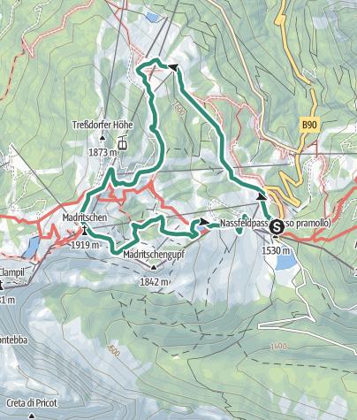 Karte / Rossalm (1700 m) - Madritsche (1909 m)
