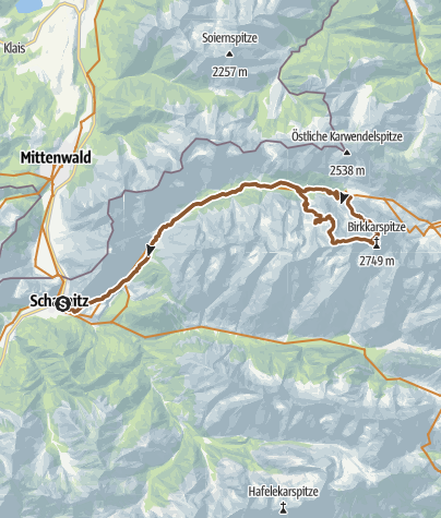 Map / Brikkarspitze - Karwendeltal -Hike & Bike