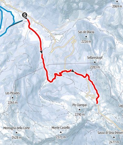 Map / Snowshoe hike from San Cassiano to the Valparola Alp