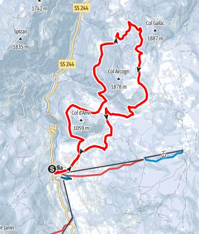 Map / Snowshoe hike through the Armentara meadows