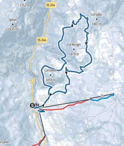 Mappa / Escursione con le ciaspole attraverso i prati dell'Armentara