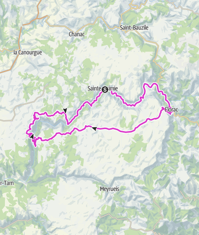 Karte / Sainte Enimie - Point Sublime über Causses Mejean u. Causee Sauveterre