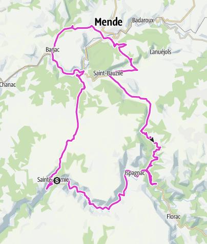 Karte / Ste.-Enimie - Montee Jalabert - Col de Montmirat
