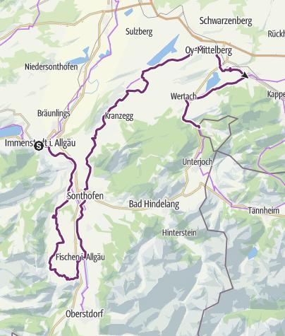 Map / Radrunde Allgäu - Etappe Immenstadt/Blaichach - Jungholz