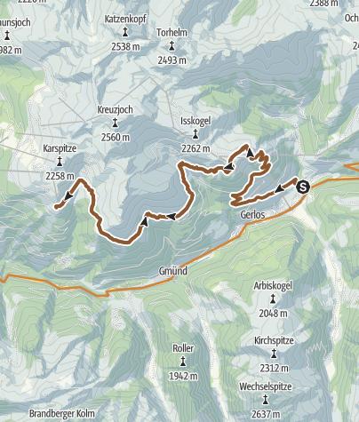 Karte / Isskogel-Kreuzwiesenalm