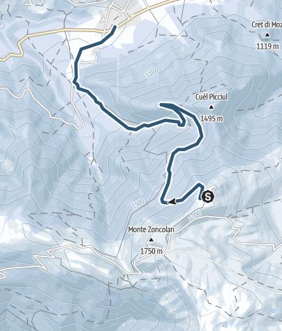 Karte / Skiabfahrt von Gipfelstation Monte Zoncolan