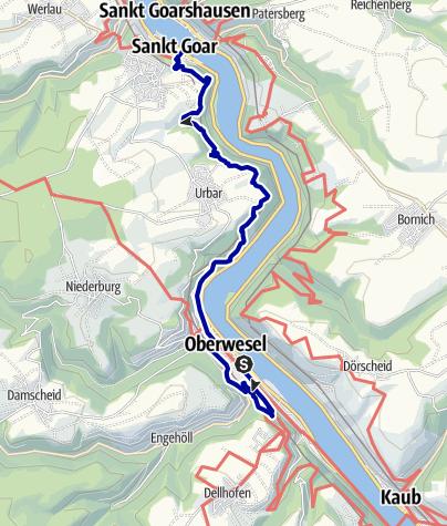 Karte / Rheinburgenweg von Oberwesel nach St. Goar - mit Oelsbergsteig