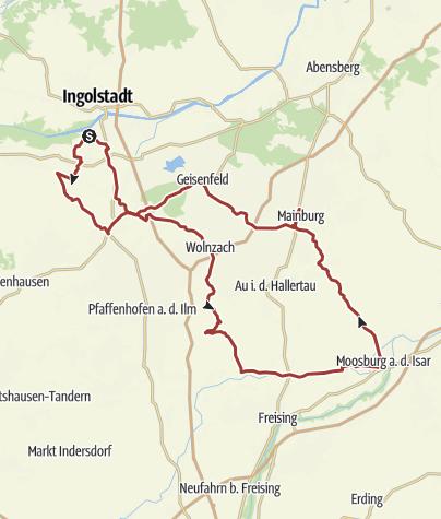 Karte / 10. August 2017 Rollerausfahrt ins Hopfenland nach Moosburg