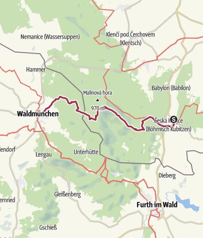 Karte / Bhf Ceska Kubice - Cerchov - Bhf Waldmünchen
