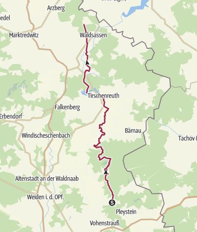Karte / Fahrenberg-Kappl. Auf der alten Trasse des Oberpfalzwegs.