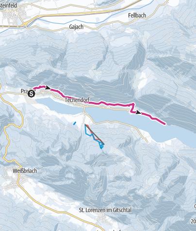 Carte / Nördlicher Waldweg von Praditz bis zum Ronacherfels am Weissensee