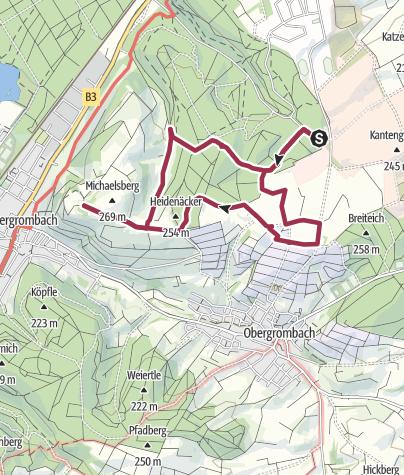 Karte / Jüdischer Friedhof, Obergrombacher Weinberg, Kernobstallee Bruchsaler Weg, Michaelsberg